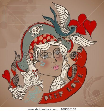 Valentine illustration, Old-school styled tattoo woman with bird and ribbon, Vintage background, vector - stock vector