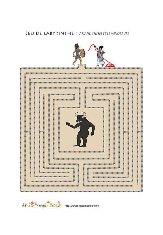 Jeu de labyrinthe ariane th s e et le minotaure - Dessin labyrinthe ...