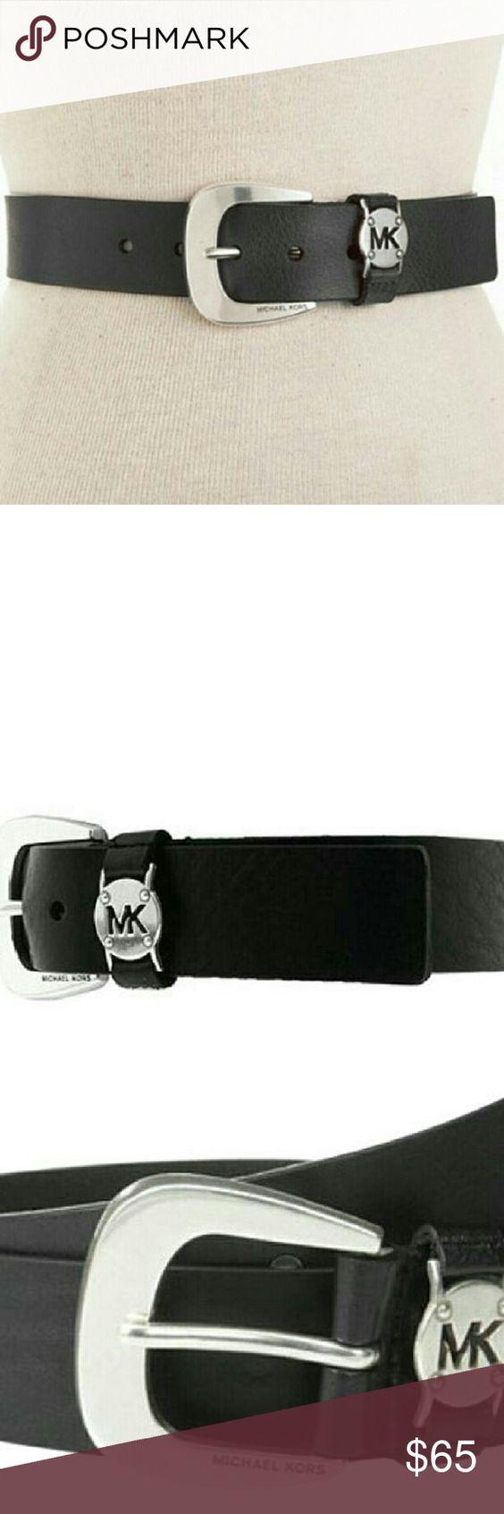 Michael Kors Belt Leather Belt With MK Cutout Logo Disc Belt Size X-Small Michael Kors Accessories Belts