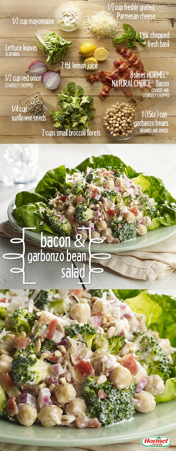 Serve a delicious and filling bacon and garbanzo bean salad at your Easter meal. #recipe