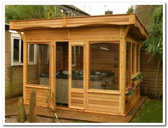Ideas outdoor hot tubs and tubs on pinterest for Garden enclosure ideas
