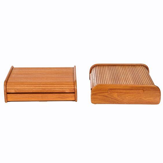 Teak Tambour-Door Storage Boxes, Pair