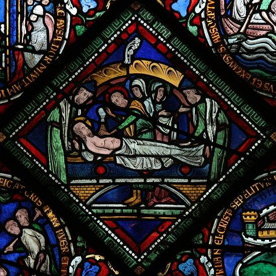 Canterbury Cathedral - Medieval stained glass depiction of the Entombment of Christ in the Corona Redemption Window c.1200-07.