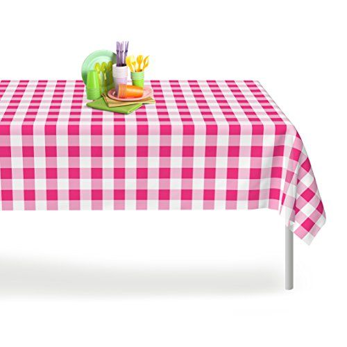 Pink Checkered Gingham 6 Pack Premium Disposable Plastic Table Cloth Picnic Tablecloth Table Covers