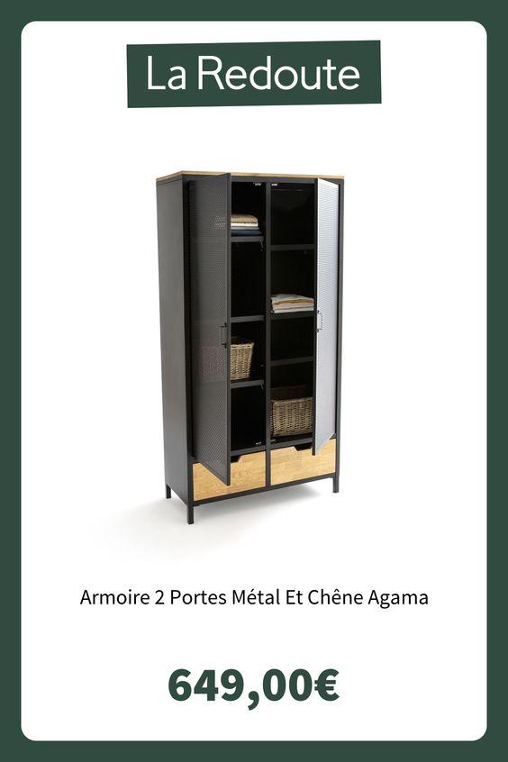 Armoire 2 Portes Metal Et Chene Agama Bois Metal La Redoute Interieurs La Redoute Armoire 2 Portes Armoire Armoire En Pin