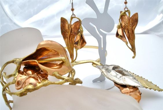 Vintage Artisan Set Necklace Bracelet Earrings 3 Piece Lily Copper Silver Gold | eBay