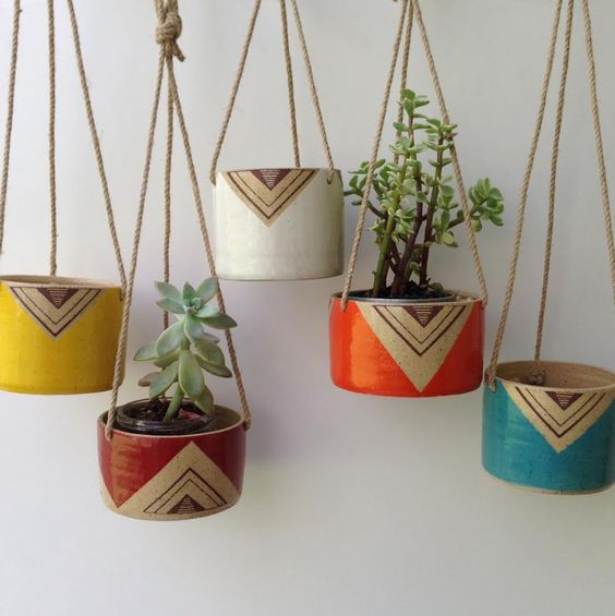 Planters hanging planters and painted ceramics on pinterest Ideas for wall hanging planters