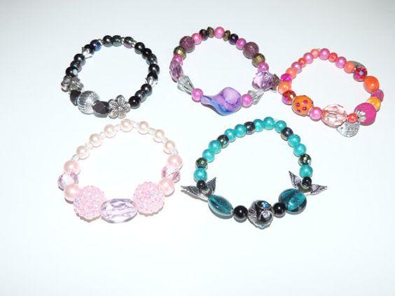 Set of 5 handmade beaded stretch bracelets by GabiLuBoutique, $50.00