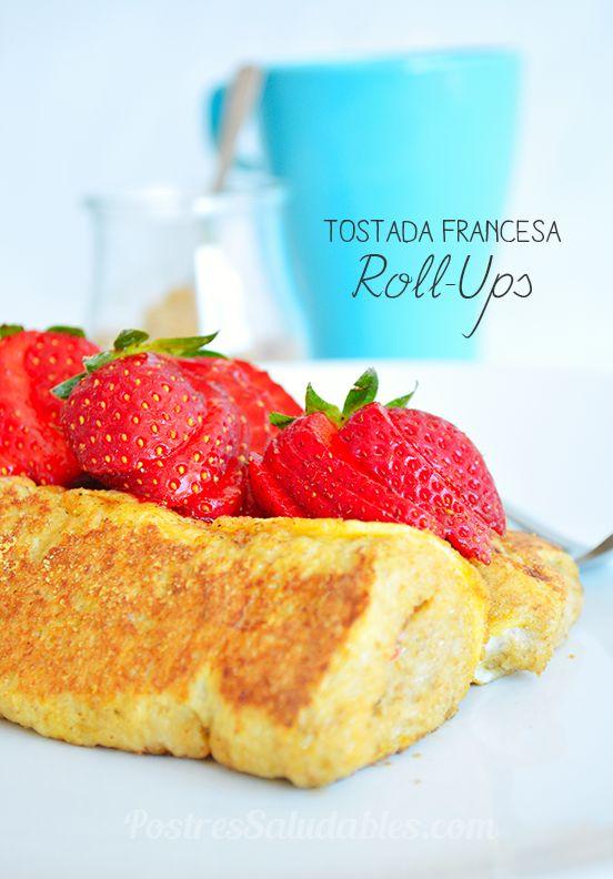 Postres Saludables | Rollitos de Tostada Francesa integral  2 rodajas de pan de molde INTEGRAL 5 fresas (2 para el relleno y 3 para decorar) *puedes usar otras frutas* medio banano (plátano)  para relleno 1 huevo 30 ml leche de soja ( almendras, o de vaca desnatada) media cucharadita de canela y media cucharadita de azúcar mascabado ( puedes usar miel)