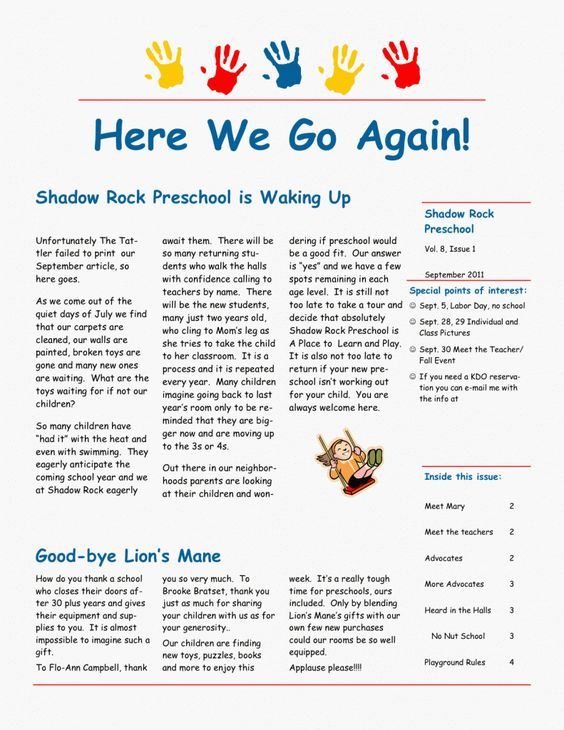 4f933e7bcf050d769fca58312bb272ab Sample Daycare Newsletter Templates For Parents on blank monthly, visual performing arts, nutrition program,