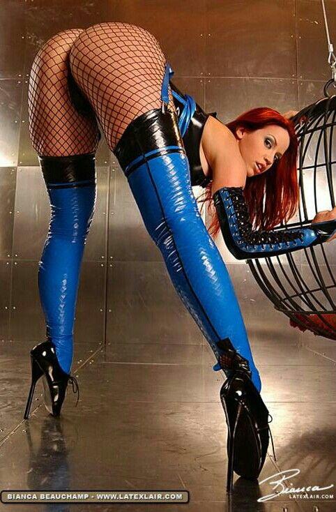 Bianca Beauchamp fishnet latex legs eyes redhead