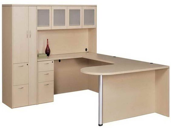 U Shaped Desk With Hutch And Decoration For The Home