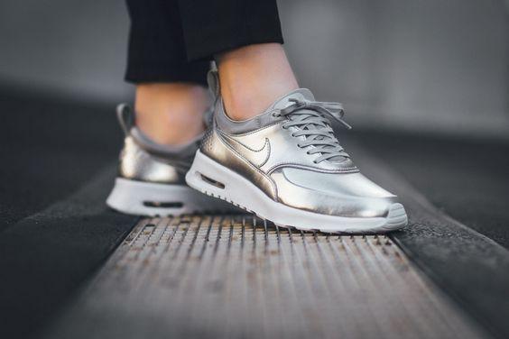 the nike air max thea premium pops in pure platinum shoes
