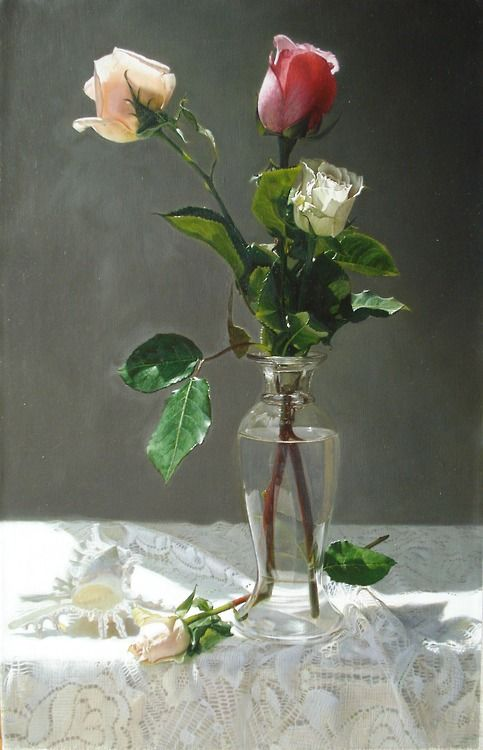 Roses still life painting by Yingzhao Liu: