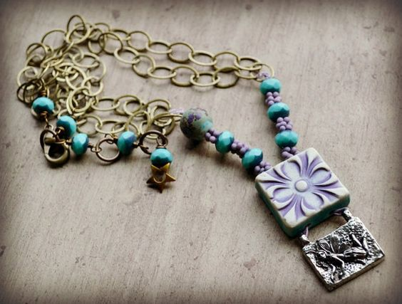 Wild Wishes Mixed Media Necklace by LoreleiEurtoJewelry on Etsy