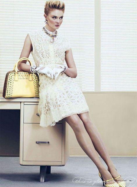 Vuitton dress and Prada bag