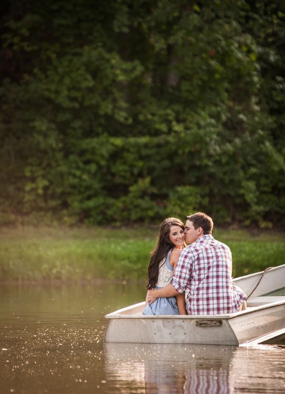 Fishing themed engagement photos with boat // Bright Shot Photography // St. Louis, Mo. // #fishing #engagement