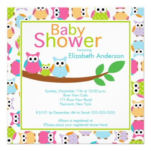Mom and Dad Owls with Baby Owl Baby Shower Personalized Announcements
