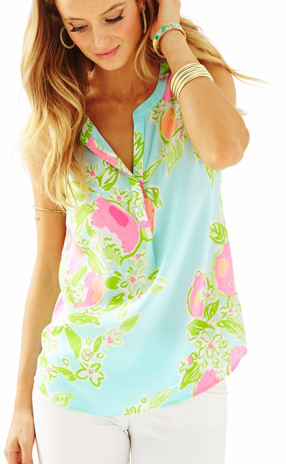Sky Blue, Pink and Green Sleeveless Tank