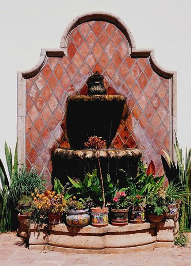 Fountain hacienda style my dream house pinterest for Mexican style outdoor fountains
