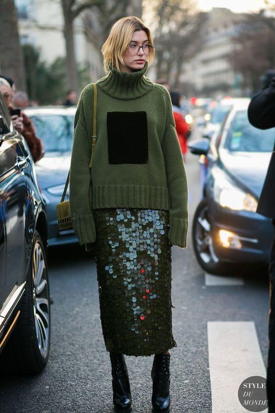 hailey baldwin - paetês + tricô / looks de inverno / winter looks / sequins #ad
