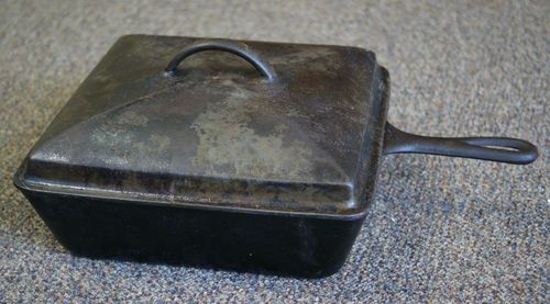 """Antique Wagner Ware 1400 Chicken Fryer Cast Iron 10"""" Square Skillet WITH LID 