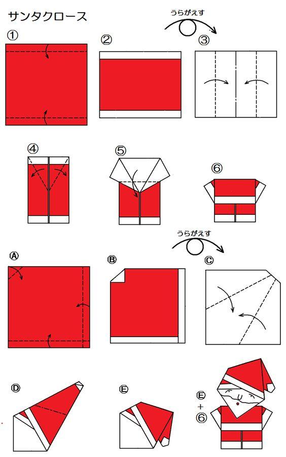 santa claus origami weihnachten pinterest