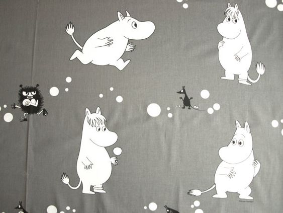 Moomin fabric grey white black moomin characters cotton for Kids character fabric