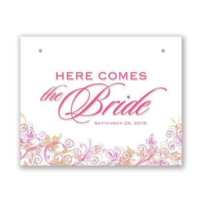 Announce the bride with pink & gold #PinkWeddings #FlowerGirl #DavidsBridal  http://www.invitationsbydavidsbridal.com/Wedding-Day-Essentials/View-All-Wedding-Day-Essentials/2947-DBKXZFS15GFLB-Flourishing-Bride-Sign.pro?&sSource=Pinterest&kw=SoPinkinCute_DBKXZFS15GFLB