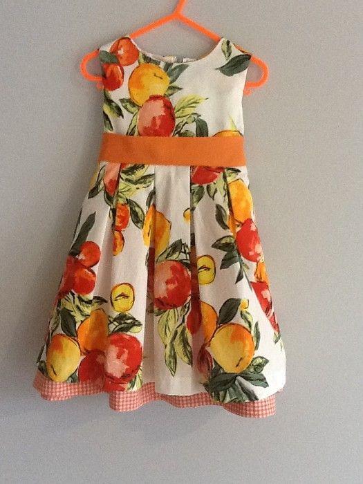 Nectarines and Peach Cotton print Size 4 Years orange gingham underskirt - by Aloisemae on madeit