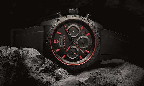 Montre homme Tudor Fastrider Black Shield chronograph rouge couchée - verygoodlord