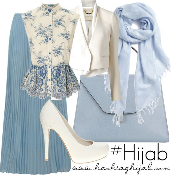 Long skirt blue, white and blue blouse, white blazer, with blue shawl   Hijab Outfit