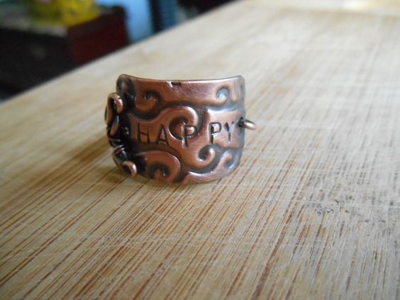 Oxidized Copper Happy Wind Plaque Ring Size 7.5 by OurBackYard, $14.00