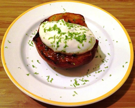 The Sensitive Epicure: Grilled Peaches with Greek Yogurt, Honey, Lime Zest, and Vanilla