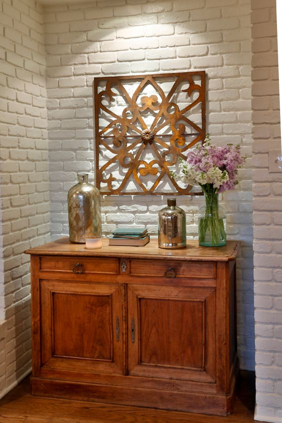 "As seen on HGTV's ""Fixer Upper,"" Thursdays 11/10c--> hg.tv/10wdg: White Bricks, Home Ideas, Painted Brick Walls, Excellence Inspiration, Painted Bricks, Decorating Ideas, Inspiration Beauty, Exposed Brick, White Brick Walls"