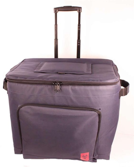 """Rolling Specimen Transport Tote w/Removable Liner w/removable liner has a handle that extends up to 24"""" and wheels for easy, convenient transport of specimens. It also has a removable inner liner for easy cleaning"""