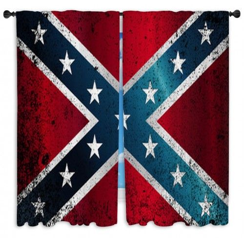 Confederate Civil War Flag Grunge Custom Size Window Curtains