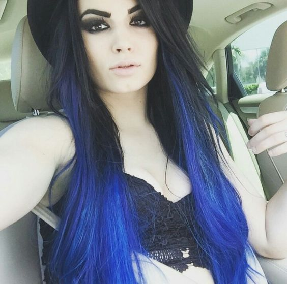 Beautiful Paige WWE blue hair
