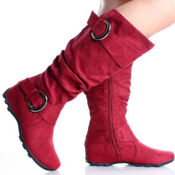 Red Flat Knee High Boots Slouch Tall Buckle Ladies Womens Faux ...