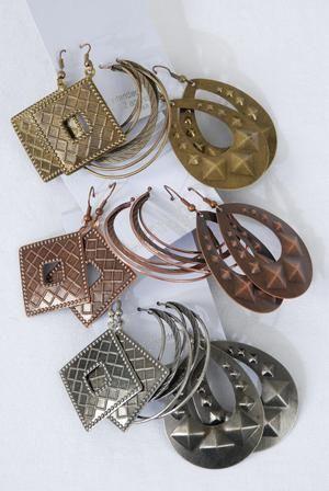 3-pair Earrings Metal Antique Mix Earrings!