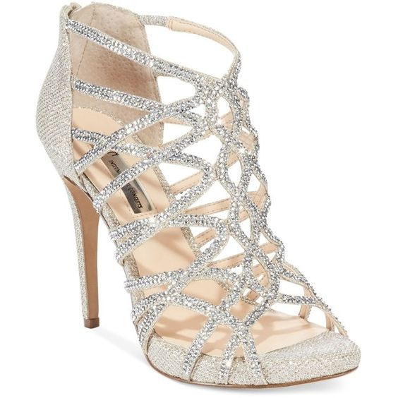 INC International Concepts Women's Sharee2 High Heel Evening Sandals... ($120) ❤ liked on Polyvore featuring shoes, sandals, heels, foot wear, evening shoes, special occasion sandals, high heel shoes, inc international concepts shoes and sparkly sandals