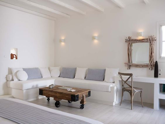 Naxos greece villa marandi living room interior for Island living interiors