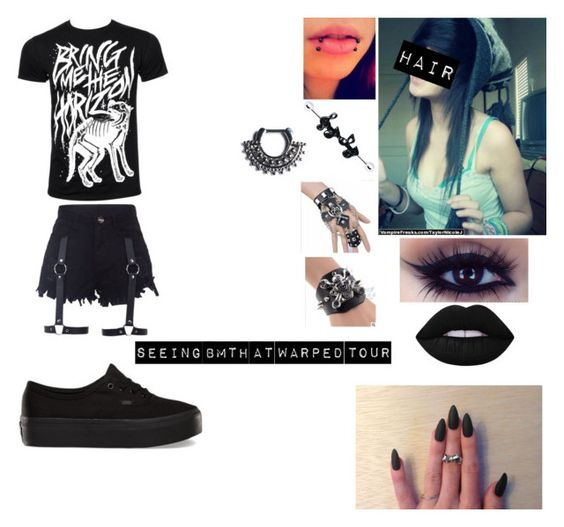 """Seeing BMTH at Warped"" by letscuddleandwatchscarymovies ❤ liked on Polyvore featuring Vans, Lime Crime, Music Notes, Trend Cool and Halftone Bodyworks"