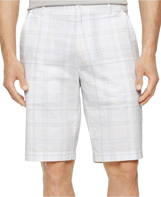 Calvin Klein Slub Multi-Plaid Shorts - Shorts - Men - Macy's