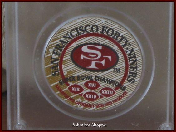 "SAN FRANCISCO 49er's 1993 Set Of 2 Milk Cap POGs ""1 Of 5000"" By Sportcaps  Junk 650  http://ajunkeeshoppe.blogspot.com/"