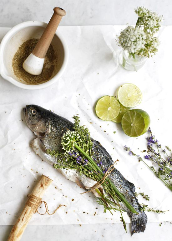 Herbal Bouquet Wrapped Trout with Lime Relish — The Jewels of New York