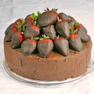 Chocolate Fudge Cake with Chocolate Dipped Strawberries from Rock Recipes