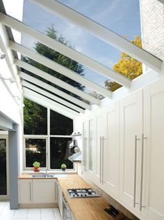 Side Return Kitchen Extension   Bare Roof, Several Panes Of Glass