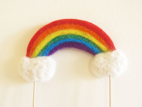 Summer Love Under the Rainbow Cake Topper Needle Felted Made to Order By Cherrytime
