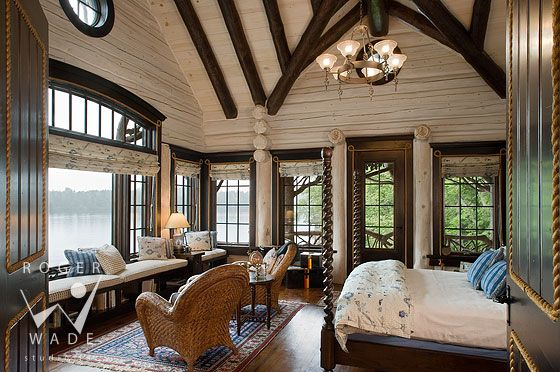 Studio interior new york and rustic bedrooms on pinterest for Log cabin window trim
